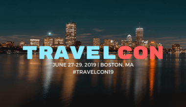 Travelcon June 27-29, 2019 Boston, MA nightscape of Boston in the background with reflection in the river