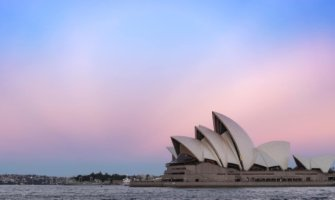 The Sydney, Australia Opera House during a colorful sunset