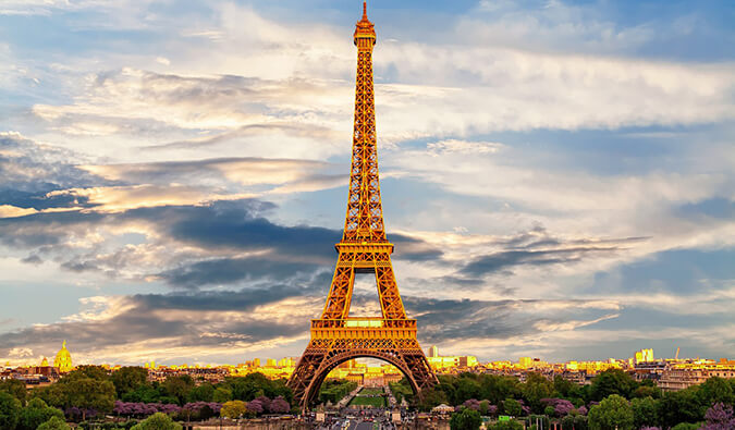 Best Hostels in Paris the Eiffel tower pictured during the golden hour
