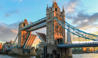 A picture of Tower Bridge in London during sunset