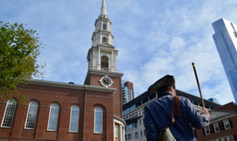 a historical actor leading a walking tour in Boston