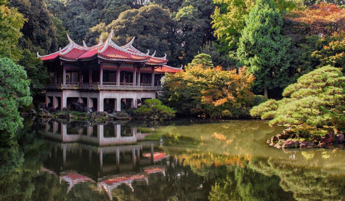 an old temple and garden in Tokyo