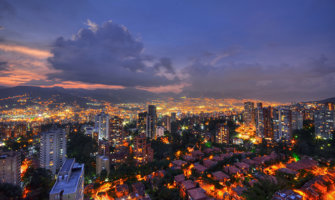 Medellin city view at night