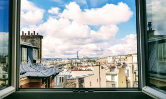 A relaxing view of Paris, France from a an apartment window