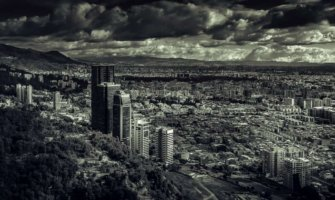 A black and white photo of Bogota, Colombia