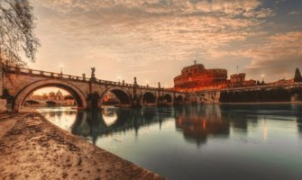 The historic architecture of Italy at sunset