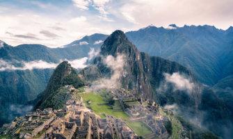 Machu Picchu, Peru, surrounded in mist and clouds