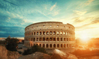 The Colosseum in Rome at sunset