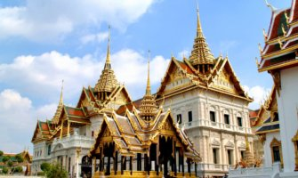 One of the many huge Buddhist temples in Bangkok, Thailand