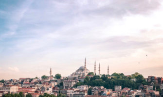A sweeping view over Istanbul with a massive mosque in the background