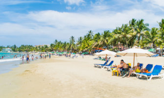 people lounging on a busy beach lined with palm trees