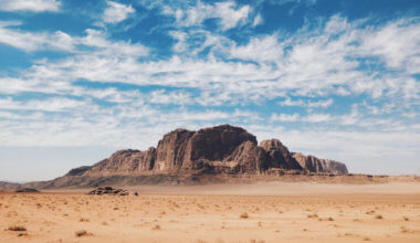 A blue sky over the arid Wadi Rum in Jordan