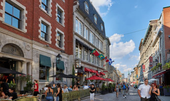 The charming streets of old Montreal, Canada in summer