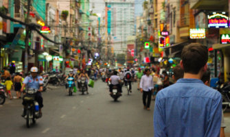 A solo male travelers backpacking in Southeast Asia