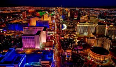 The bright and busy skyline of Las Vegas at night