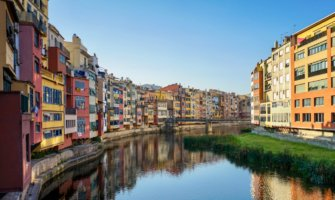 The picturesque colorful buildings of Girona, Spain