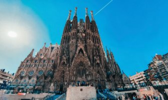 The historic and towering cathedral in Barcelona, Spain