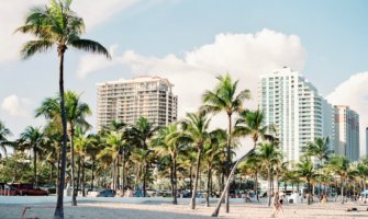 The sandy beaches of Miami, Florida during the summer