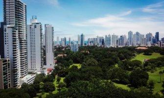 The skyline of Panama City, Panama on a sunny day