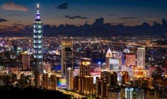Taipei at night with Taipei 101 lit up