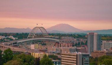 A colorful pink sunset over Portland, Oregon, USA