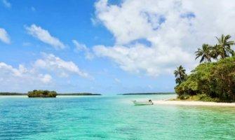 A beautiful white-sand beach in the Caribbean