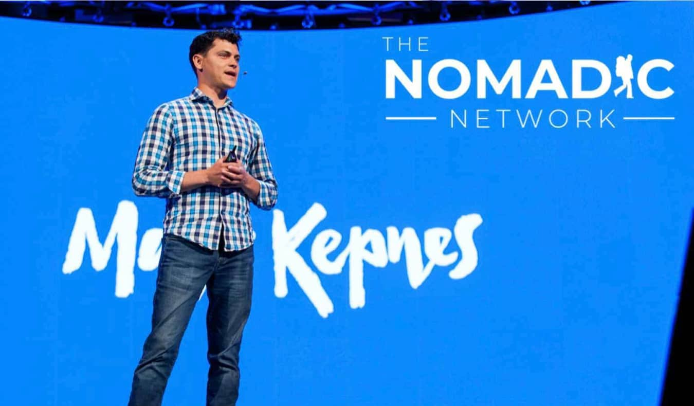 Nomadic Matt speaking at a conference