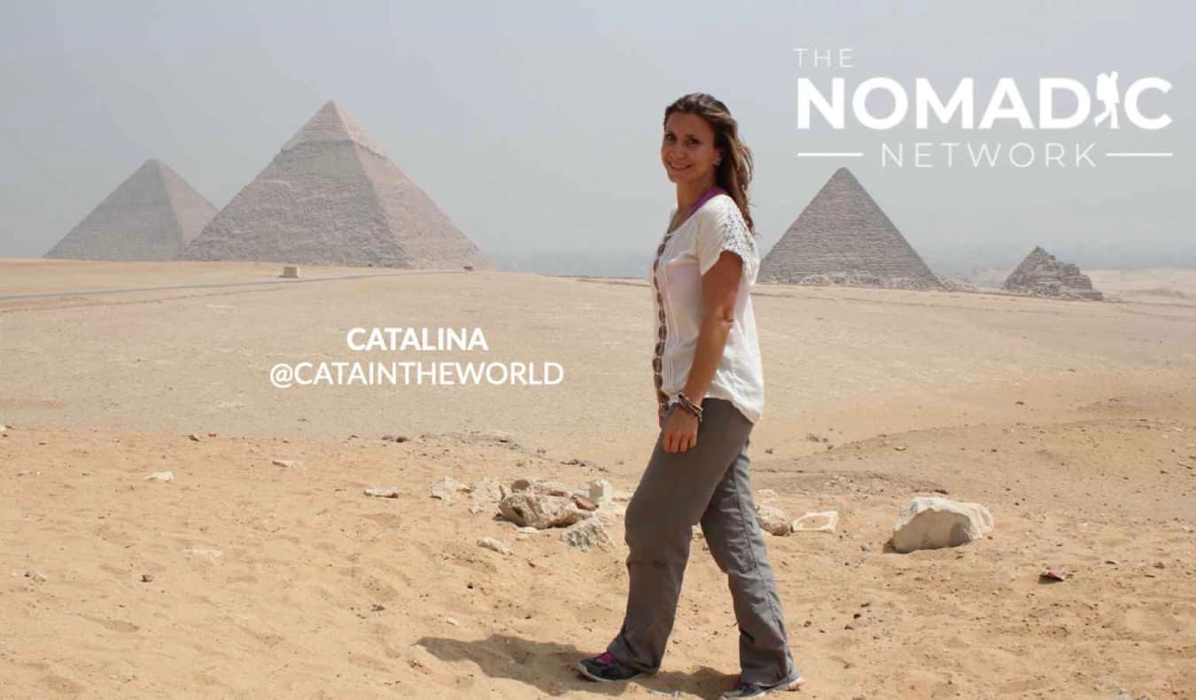 A solo female traveler near the pyramids in Egypt