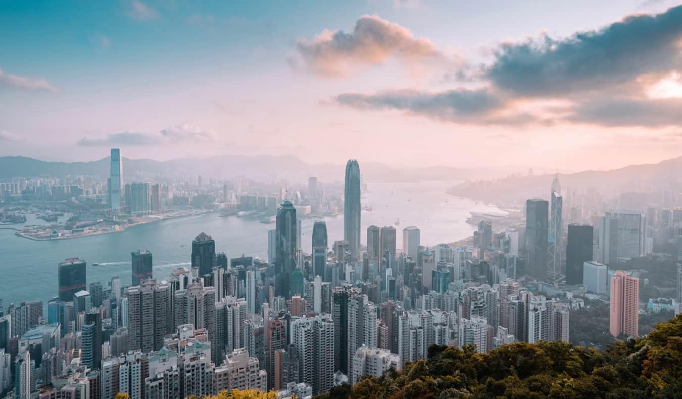 The towering skyline of Hong Kong