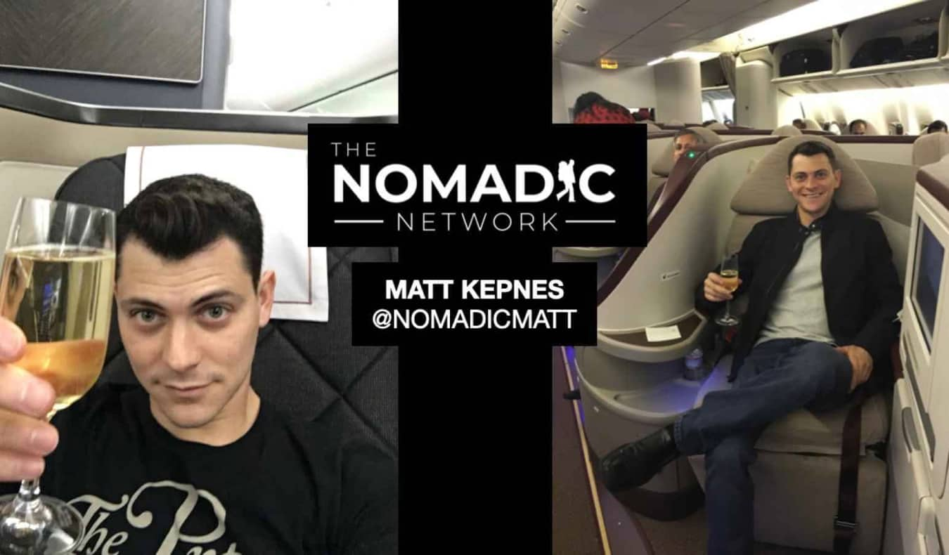 Nomadic Matt travel hacking in first class on a plane