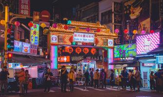 A busy night market in Taipei, Taiwan