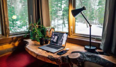 A cozy work from home office space with a laptop and camera lenses