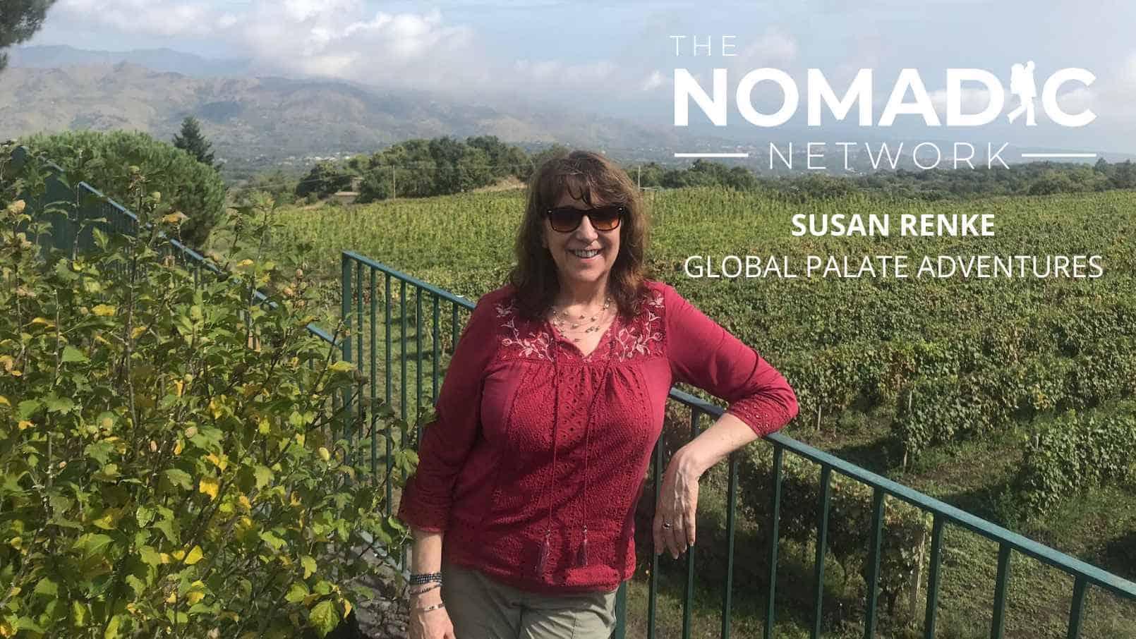 Solo female traveler posing in a vineyard