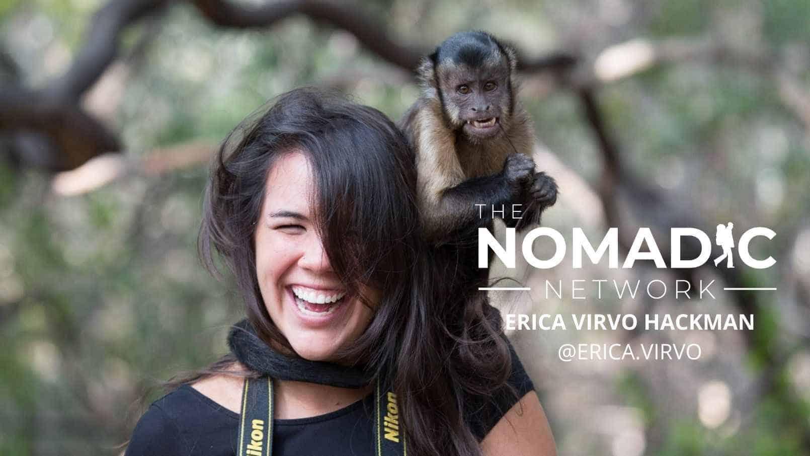 TNN host Erica with a monkey on her head