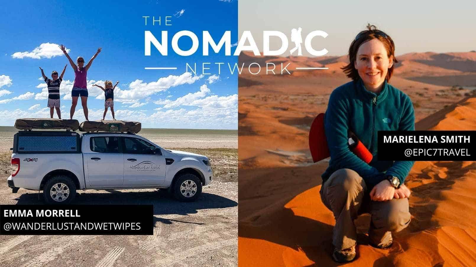 Travelers posing in Namibia