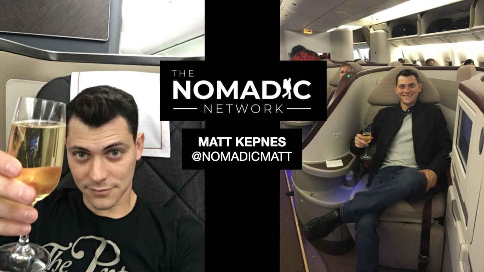 Nomadic Matt in first class