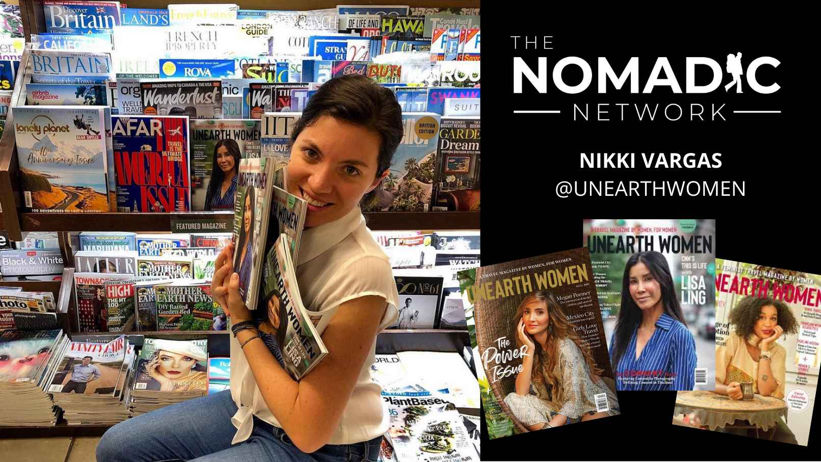 A travel magazine writer posing with her magazine