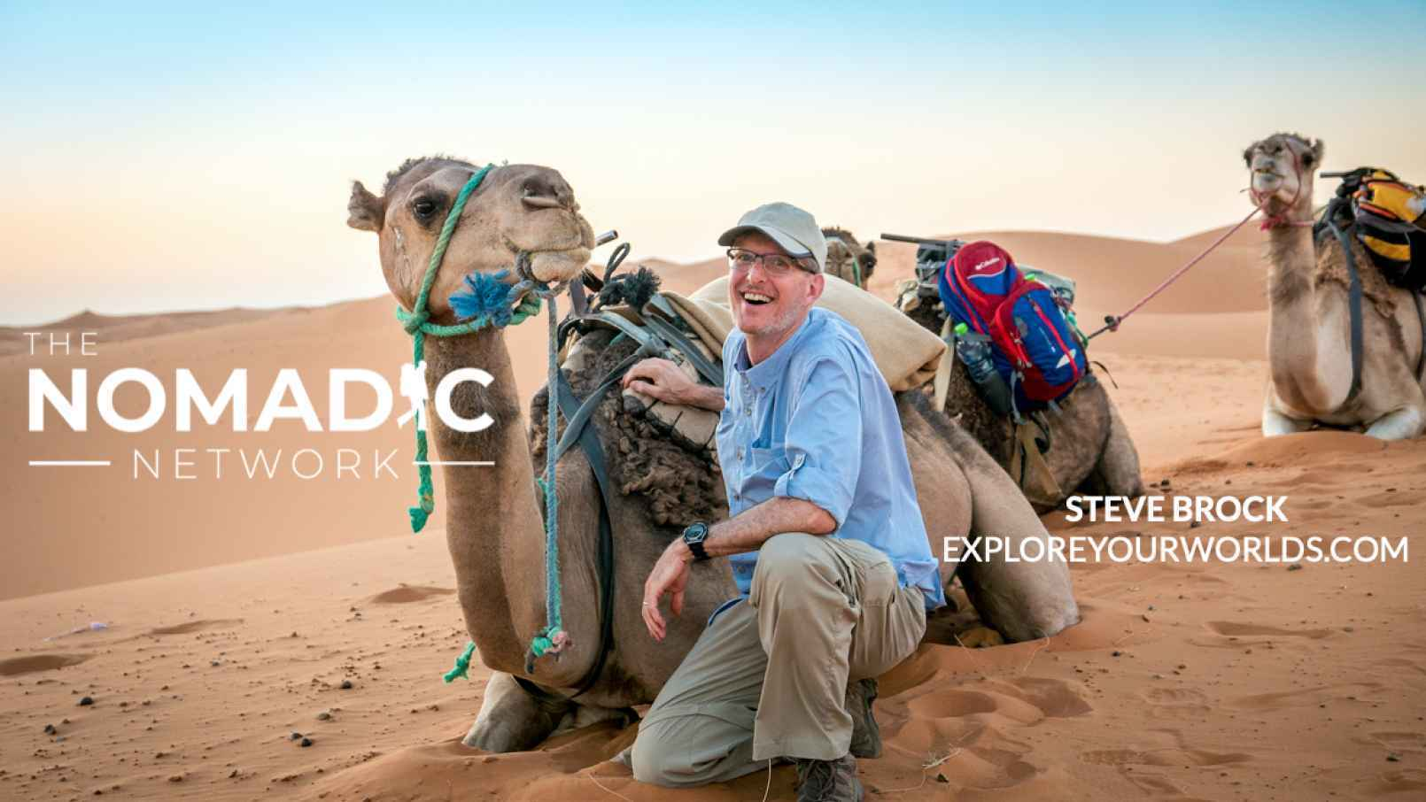 Steve Brock traveling with camels in the desert