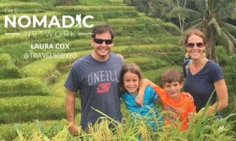 family of 4 people exploring the rice fields in asia for family travel