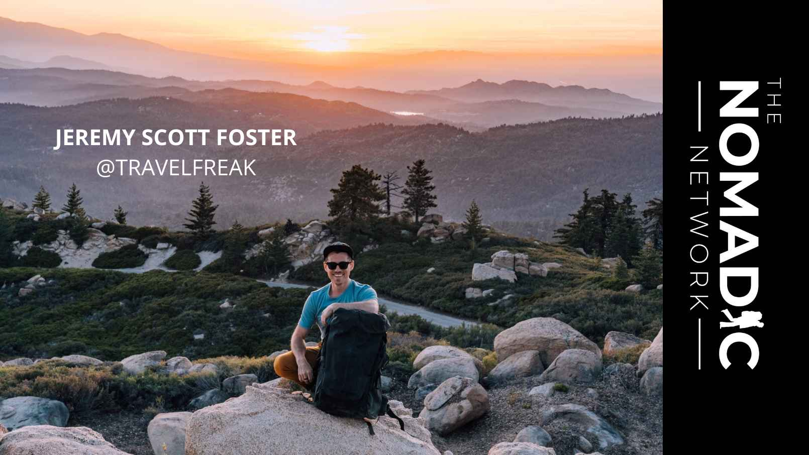man leaning on backpack on a mountain with the sunset behind him