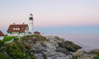An old lighthouse on the coast of Maine, USA