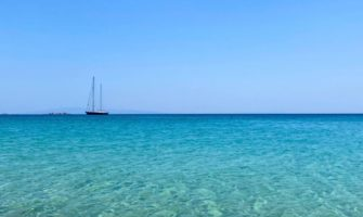 The calm, clear waters of the Cylades Islands in Greece in the summer