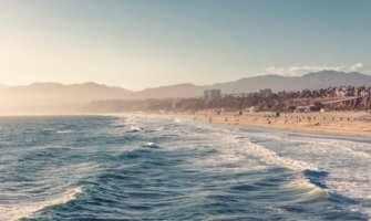 The wide, sandy beaches of Los Angeles, USA in the summer