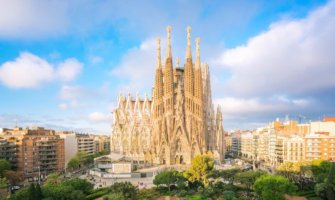 The famous La Sagrada Familia on a sunny day in Barcelona, Spain