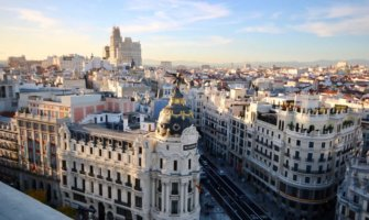 The historic city center and skyline of Madrid, Spain on a bright day
