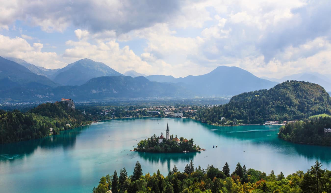 Lake Bled, Slovenia and its famous castle as seen from above
