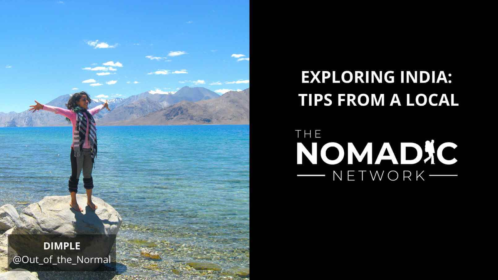 TNN speaker Dimple at Ladakh, India lake standing on a rock