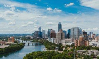 The skyline of Austin, Texas on a sunny day